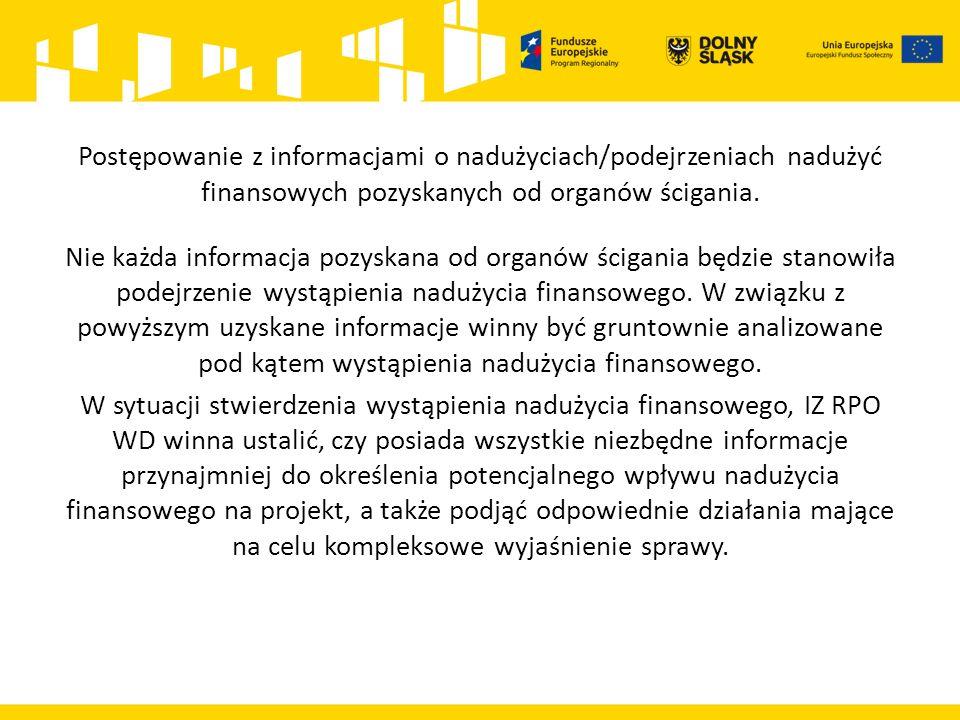 Postępowanie z informacjami o nadużyciach/podejrzeniach nadużyć finansowych pozyskanych od organów ścigania.