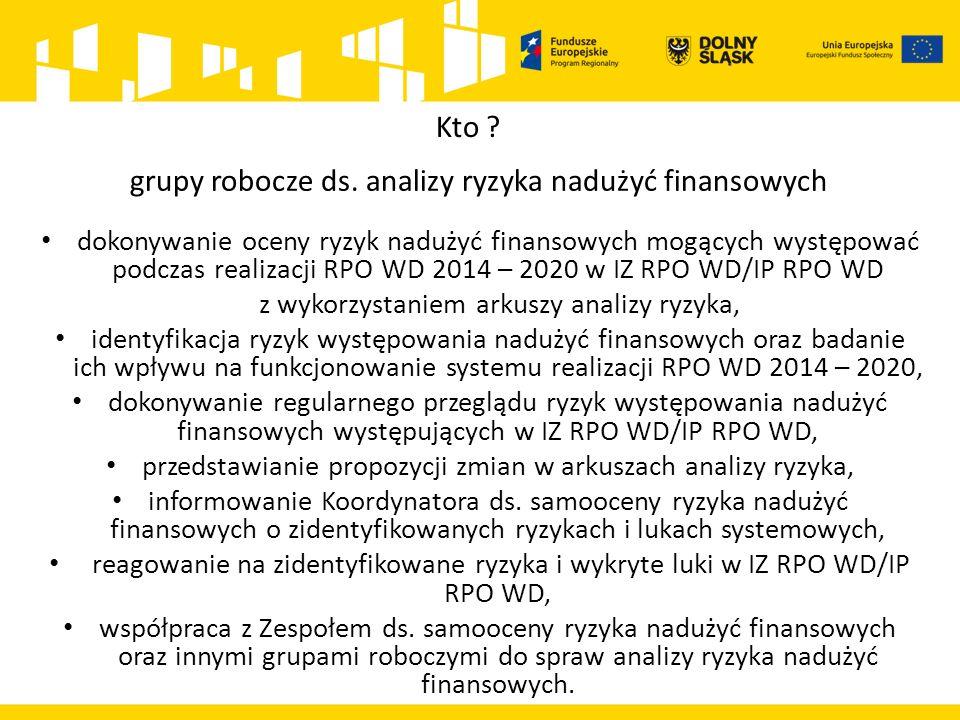 grupy robocze ds. analizy ryzyka nadużyć finansowych