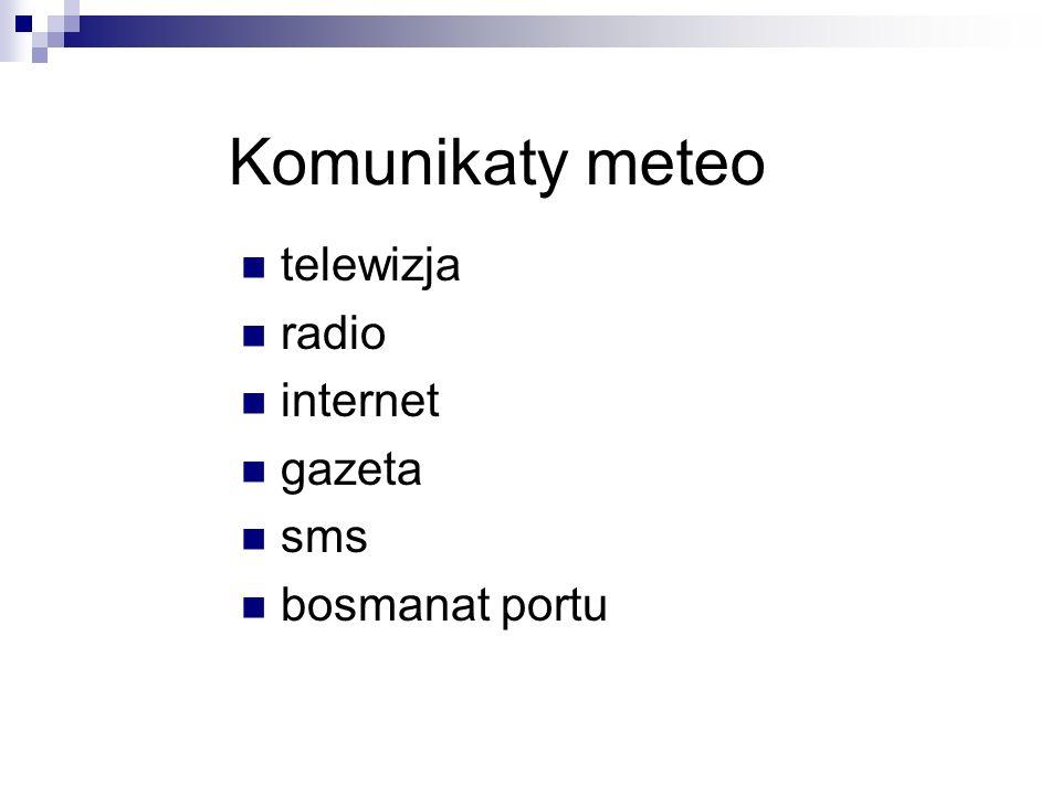 Komunikaty meteo telewizja radio internet gazeta sms bosmanat portu
