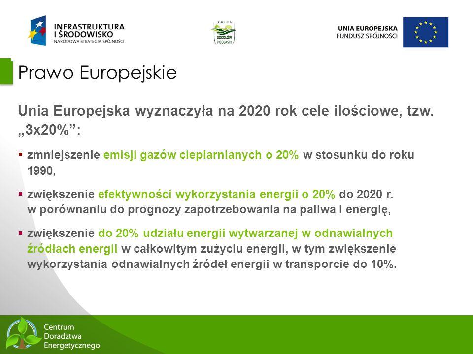 """Prawo Europejskie Unia Europejska wyznaczyła na 2020 rok cele ilościowe, tzw. """"3x20% :"""