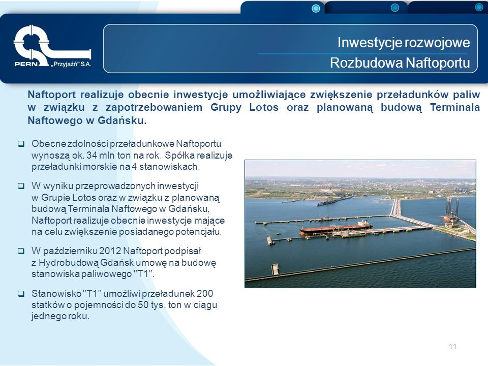 Inwestycje rozwojowe Rozbudowa Naftoportu