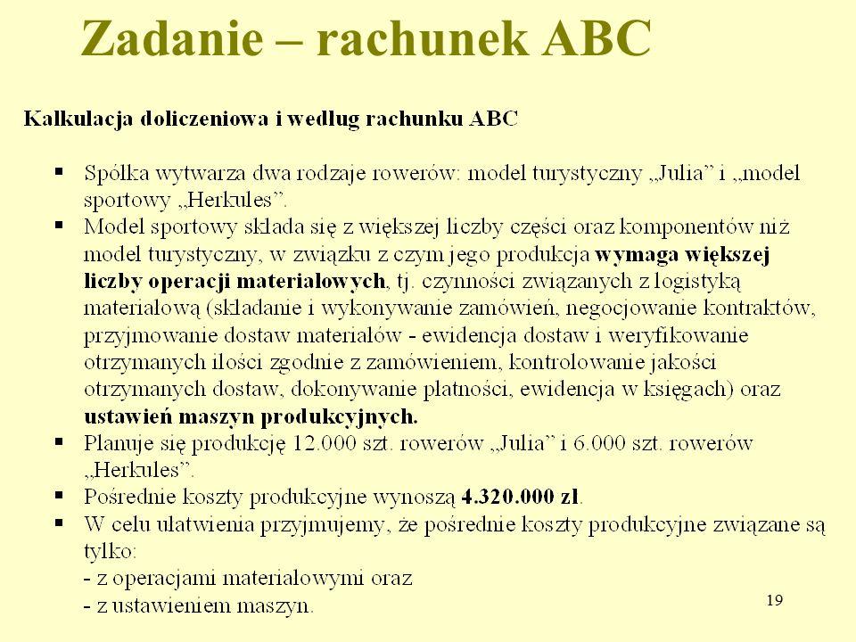 Zadanie – rachunek ABC