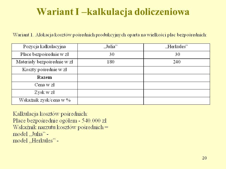 Wariant I –kalkulacja doliczeniowa