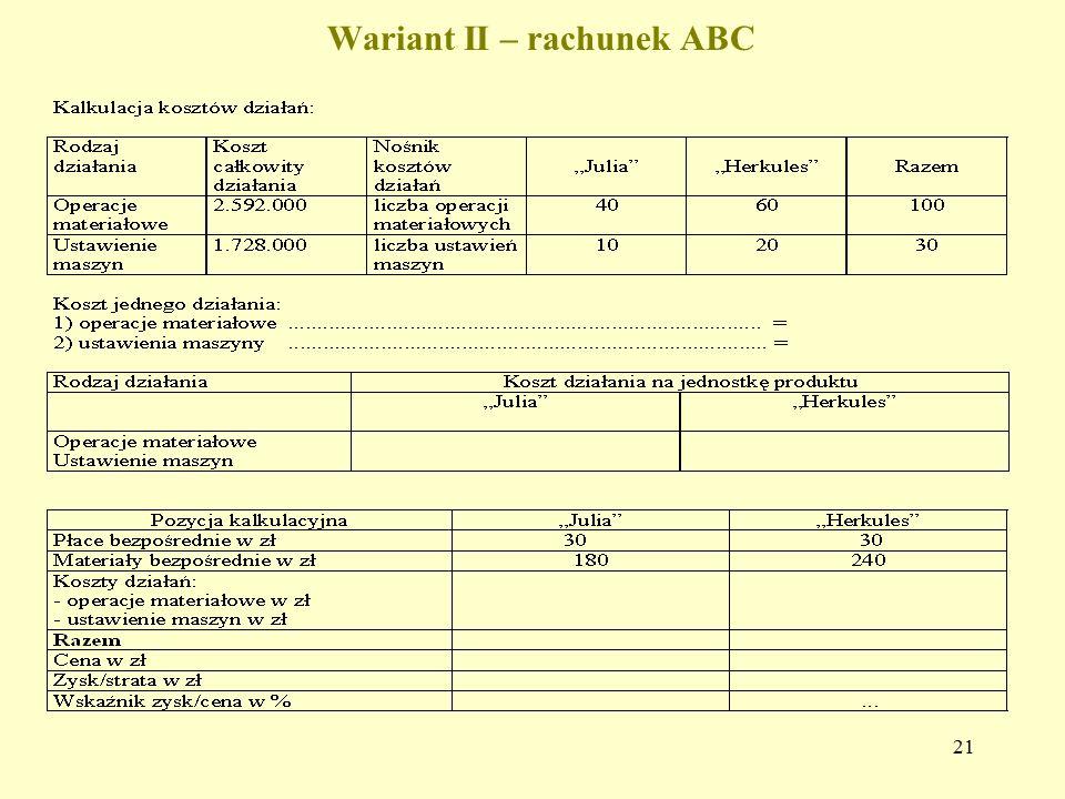 Wariant II – rachunek ABC