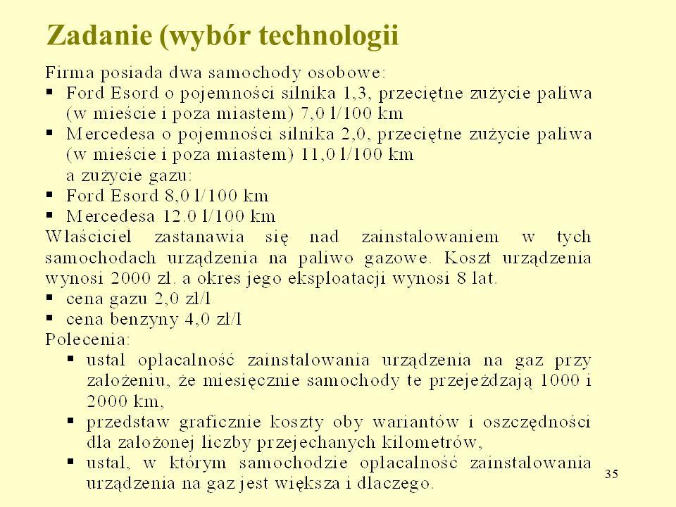 Zadanie (wybór technologii