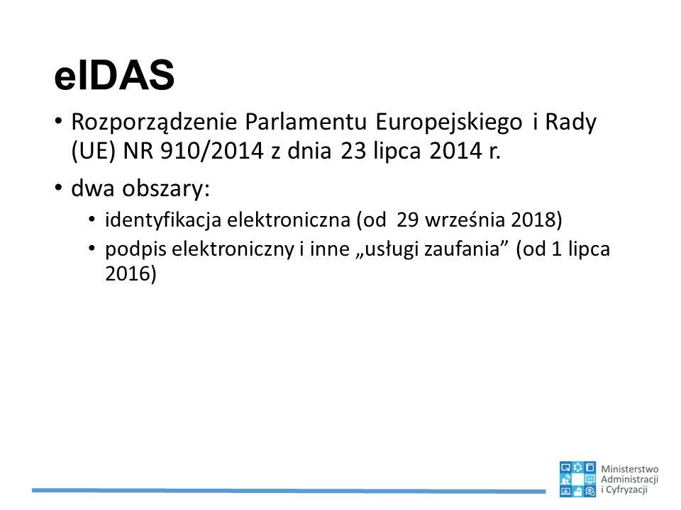eIDAS Rozporządzenie Parlamentu Europejskiego i Rady (UE) NR 910/2014 z dnia 23 lipca 2014 r. dwa obszary:
