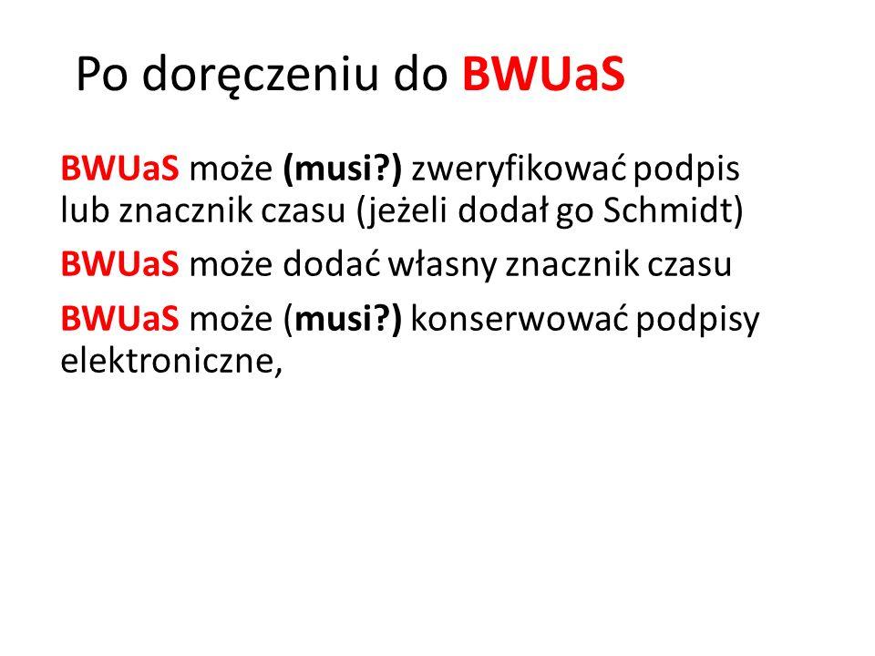 Po doręczeniu do BWUaS BWUaS może (musi ) zweryfikować podpis lub znacznik czasu (jeżeli dodał go Schmidt)