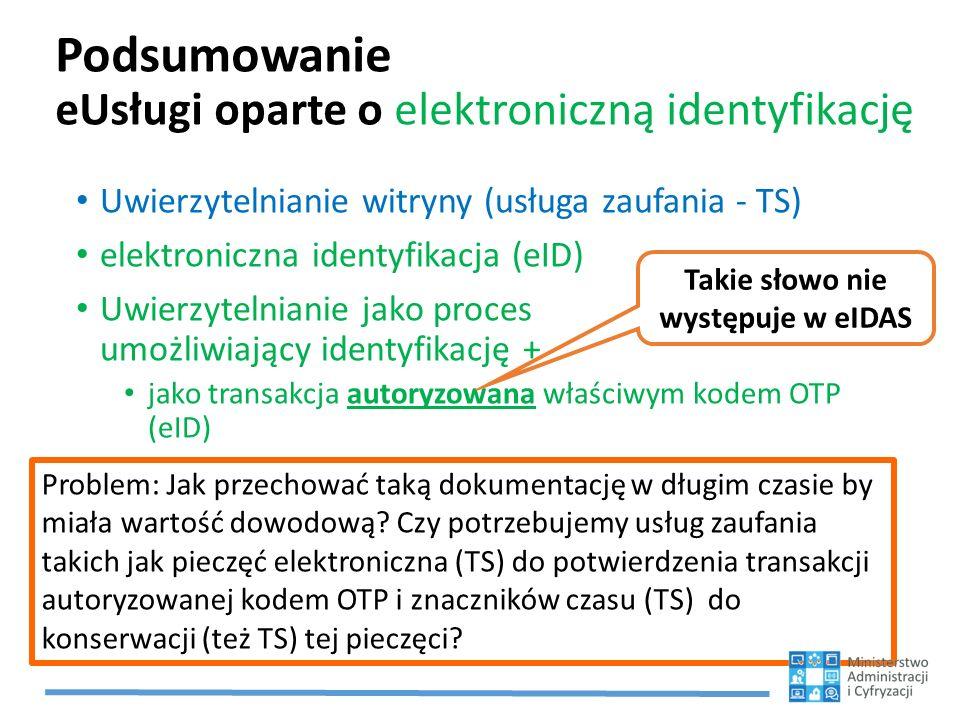 Podsumowanie eUsługi oparte o elektroniczną identyfikację
