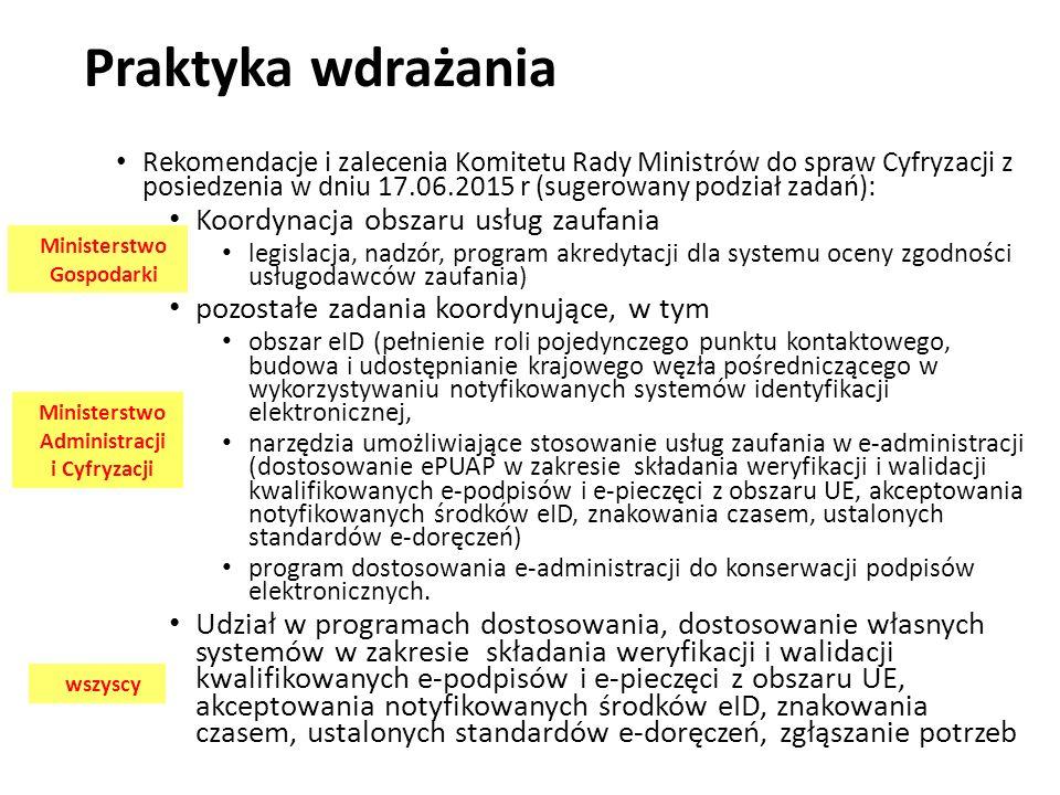 Ministerstwo Gospodarki Ministerstwo Administracji i Cyfryzacji