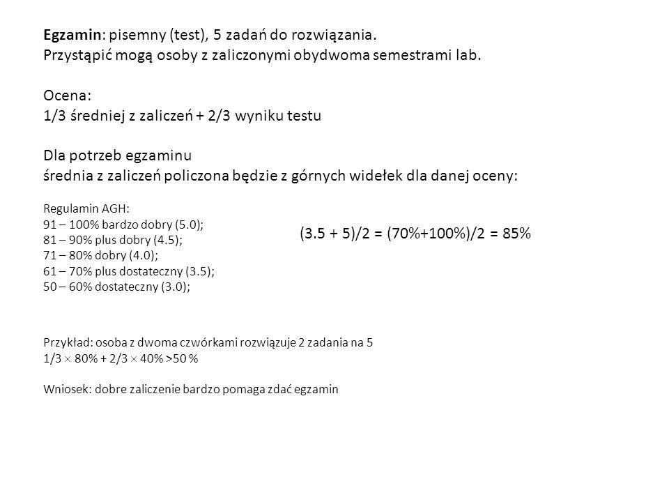 Egzamin: pisemny (test), 5 zadań do rozwiązania.