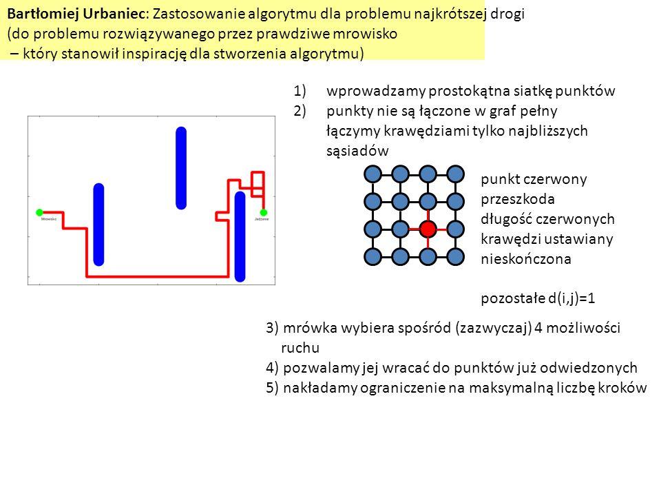 Bartłomiej Urbaniec: Zastosowanie algorytmu dla problemu najkrótszej drogi (do problemu rozwiązywanego przez prawdziwe mrowisko