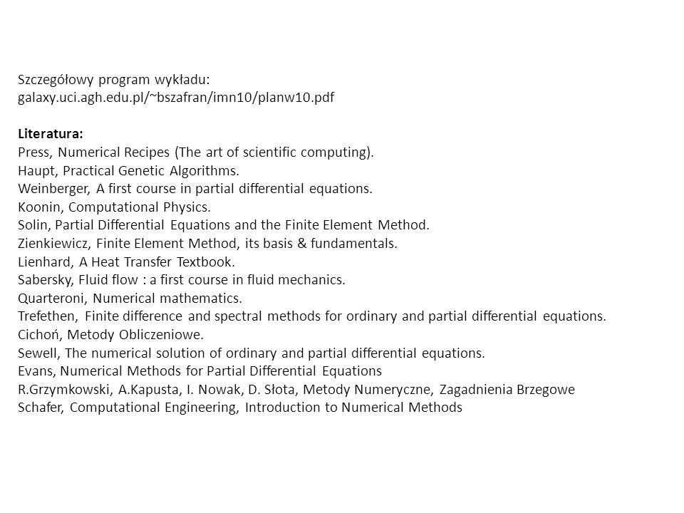 Szczegółowy program wykładu: