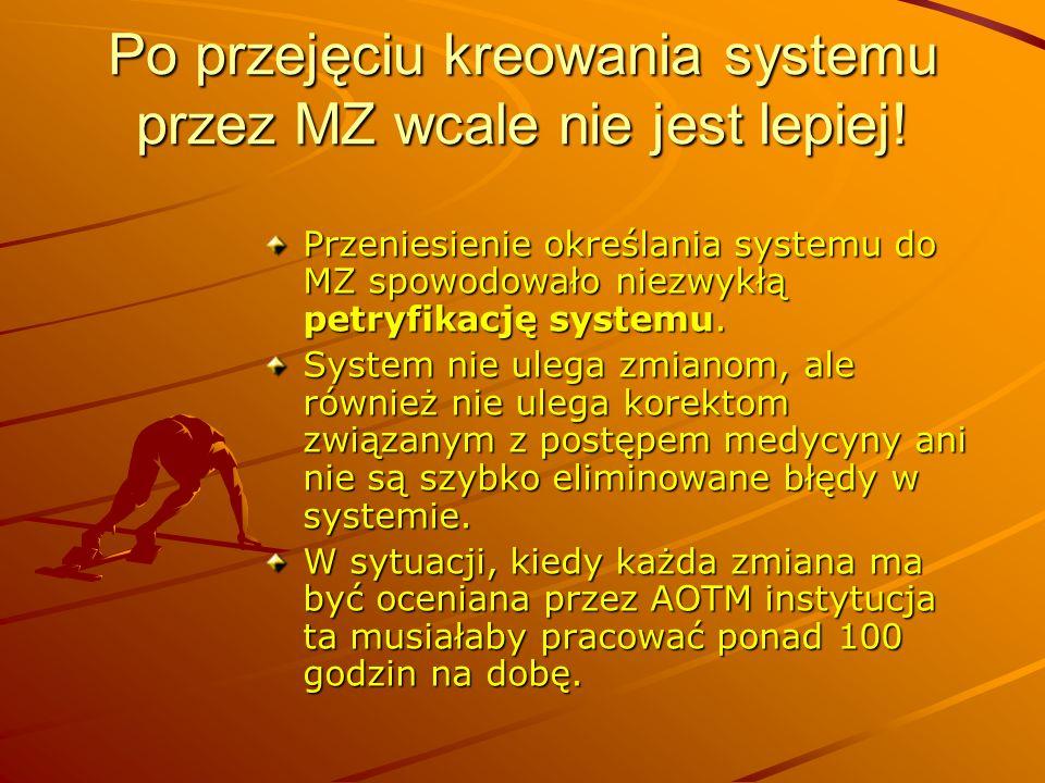 Po przejęciu kreowania systemu przez MZ wcale nie jest lepiej!