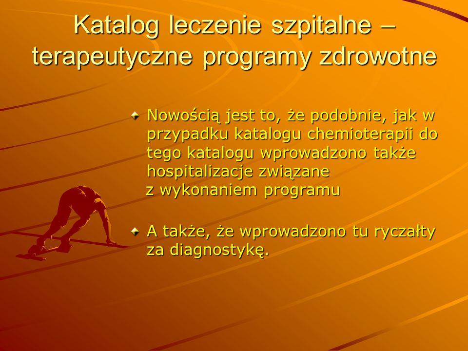 Katalog leczenie szpitalne – terapeutyczne programy zdrowotne