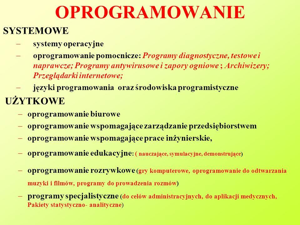OPROGRAMOWANIE SYSTEMOWE systemy operacyjne