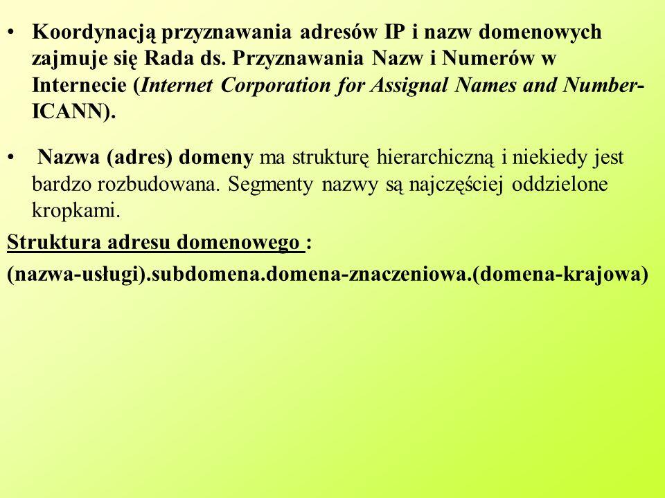 Koordynacją przyznawania adresów IP i nazw domenowych zajmuje się Rada ds. Przyznawania Nazw i Numerów w Internecie (Internet Corporation for Assignal Names and Number- ICANN).