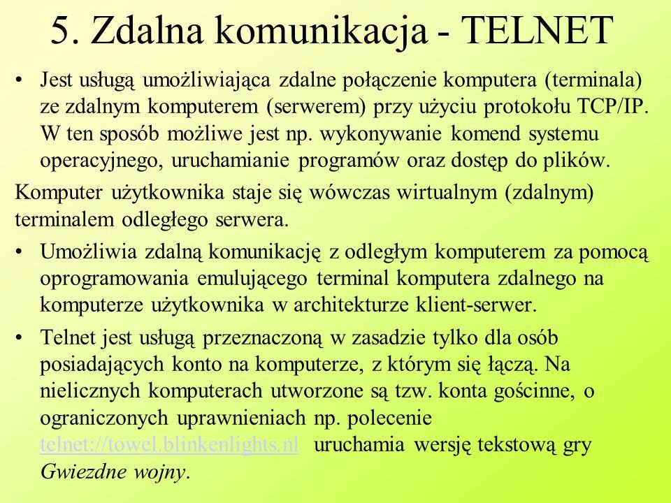 5. Zdalna komunikacja - TELNET