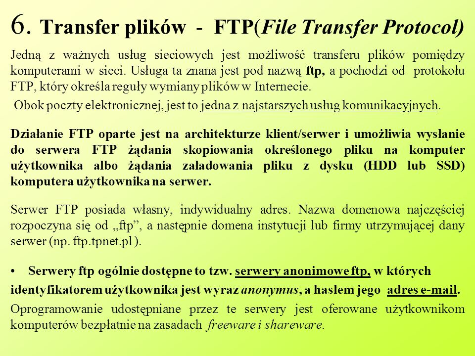 6. Transfer plików - FTP(File Transfer Protocol)