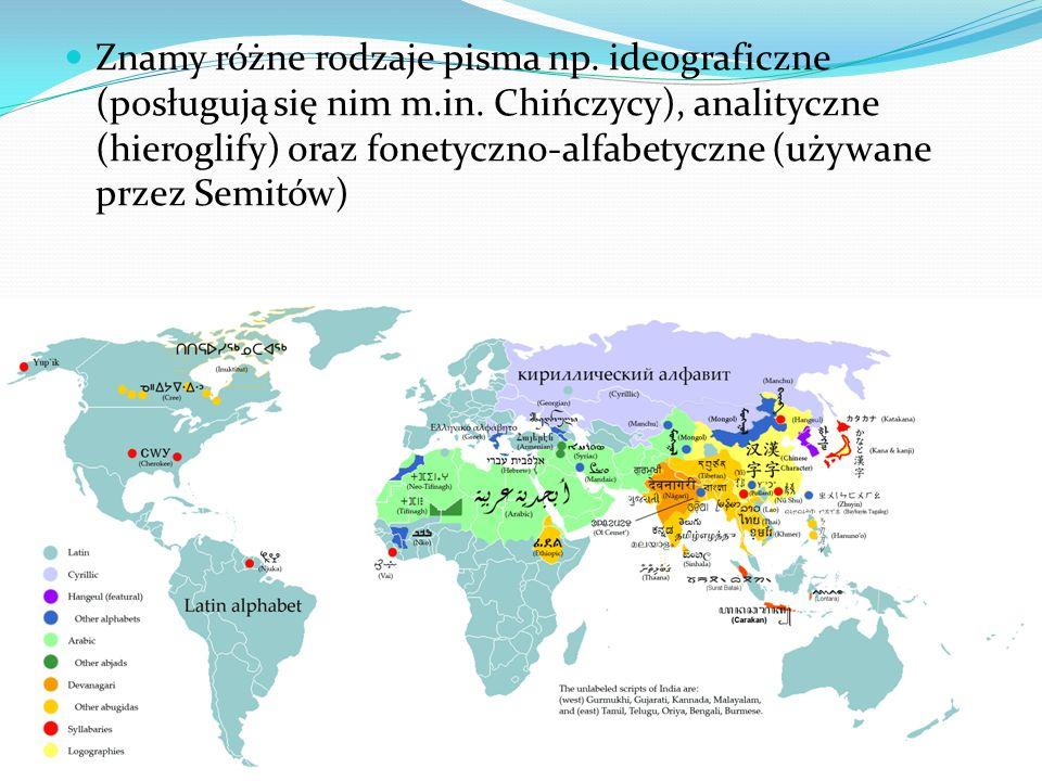 Znamy różne rodzaje pisma np. ideograficzne (posługują się nim m. in
