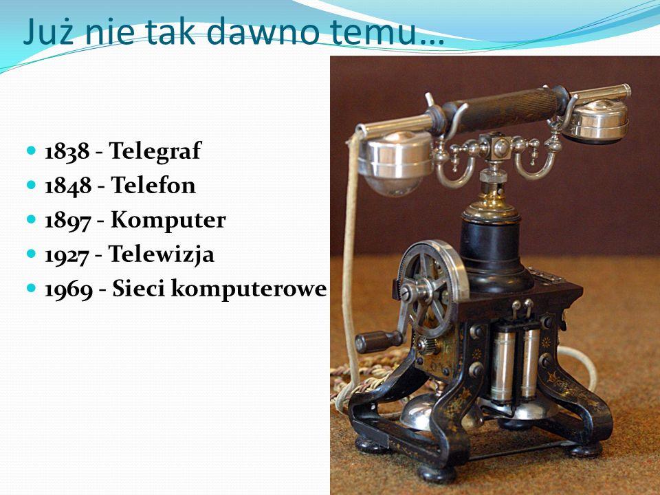 Już nie tak dawno temu… 1838 - Telegraf 1848 - Telefon 1897 - Komputer