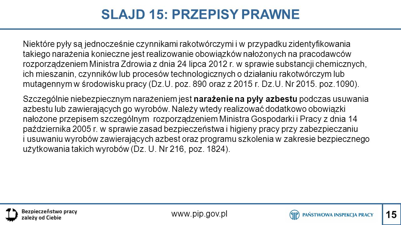 SLAJD 15: PRZEPISY PRAWNE