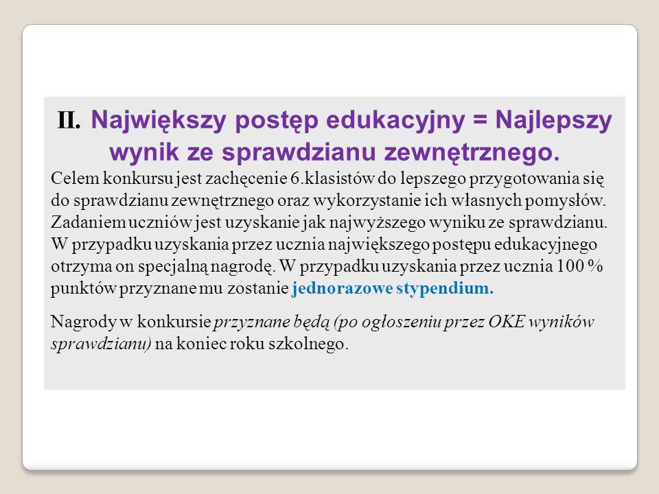 II. Największy postęp edukacyjny = Najlepszy wynik ze sprawdzianu zewnętrznego.