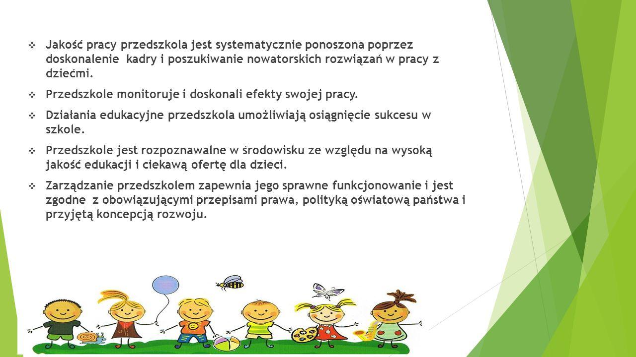 Jakość pracy przedszkola jest systematycznie ponoszona poprzez doskonalenie kadry i poszukiwanie nowatorskich rozwiązań w pracy z dziećmi.