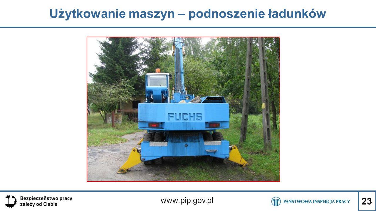 Użytkowanie maszyn – podnoszenie ładunków
