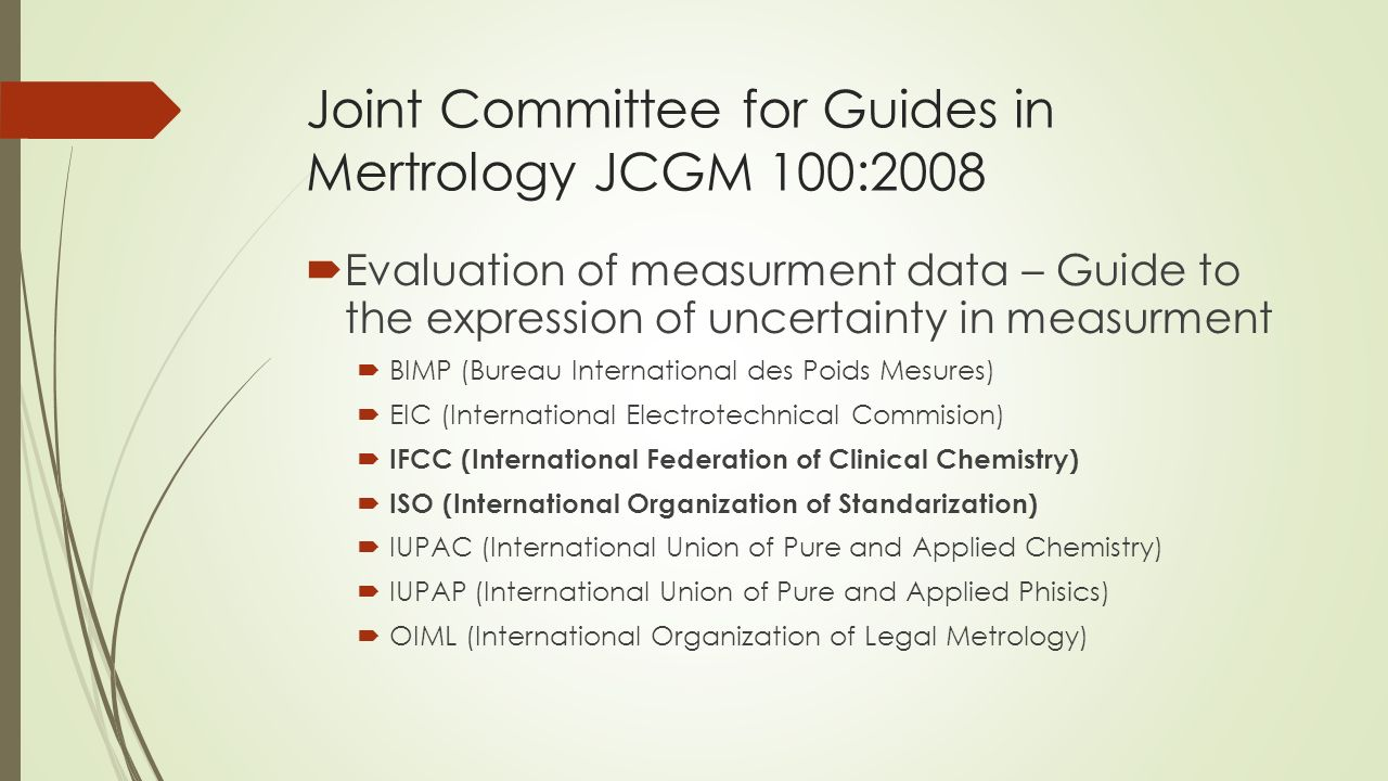 Joint Committee for Guides in Mertrology JCGM 100:2008