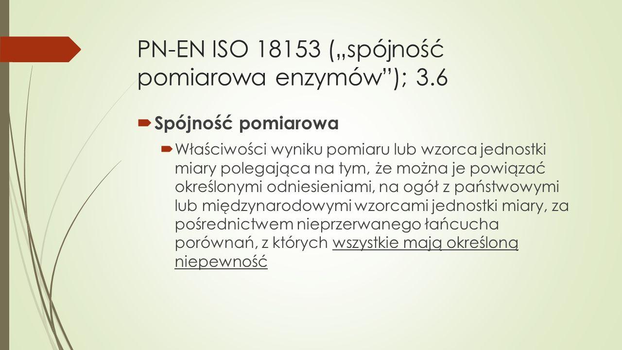 """PN-EN ISO 18153 (""""spójność pomiarowa enzymów ); 3.6"""