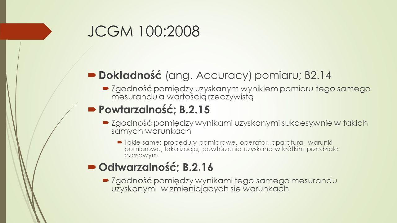 JCGM 100:2008 Dokładność (ang. Accuracy) pomiaru; B2.14