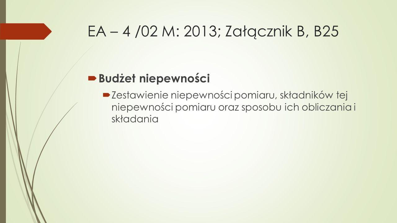 EA – 4 /02 M: 2013; Załącznik B, B25 Budżet niepewności