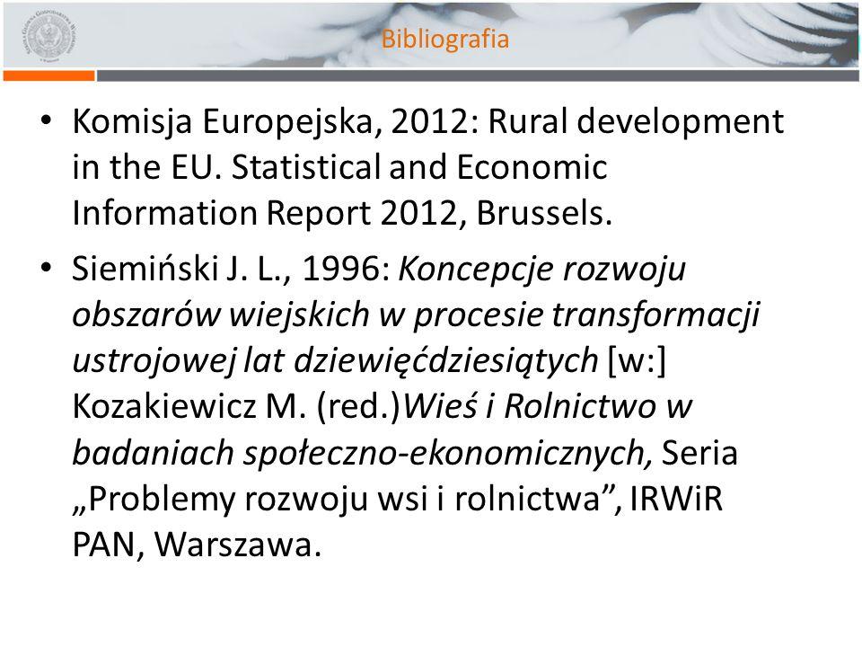 Bibliografia Komisja Europejska, 2012: Rural development in the EU. Statistical and Economic Information Report 2012, Brussels.