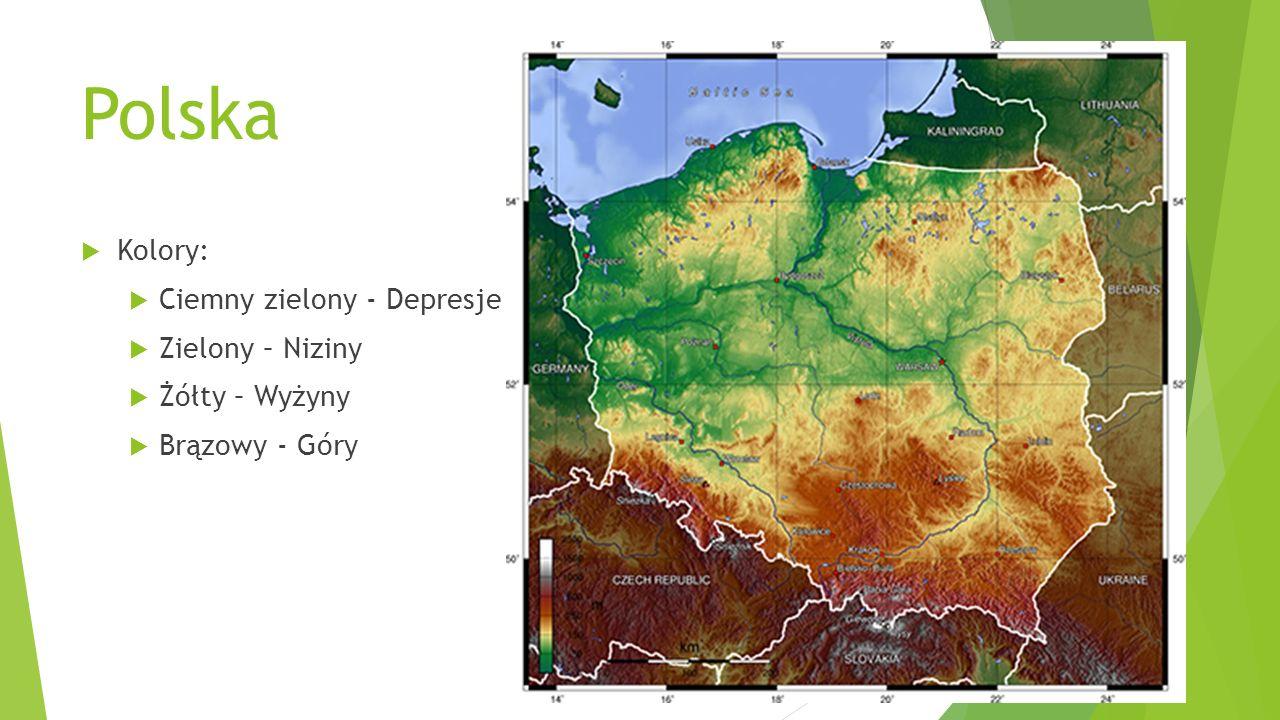 Polska Kolory: Ciemny zielony - Depresje Zielony – Niziny