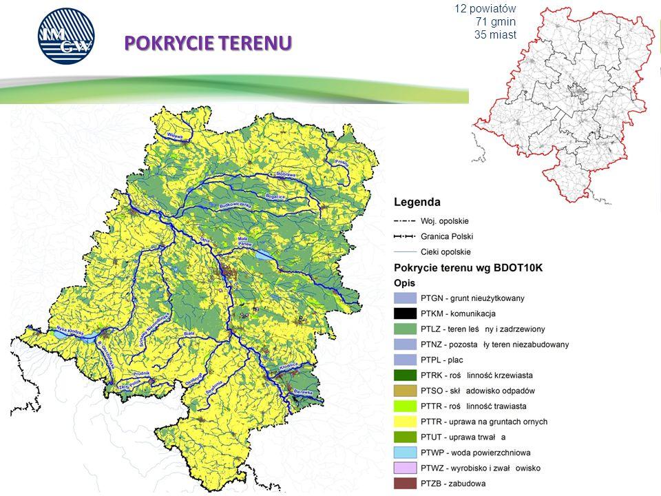 12 powiatów 71 gmin 35 miast POKRYCIE TERENU