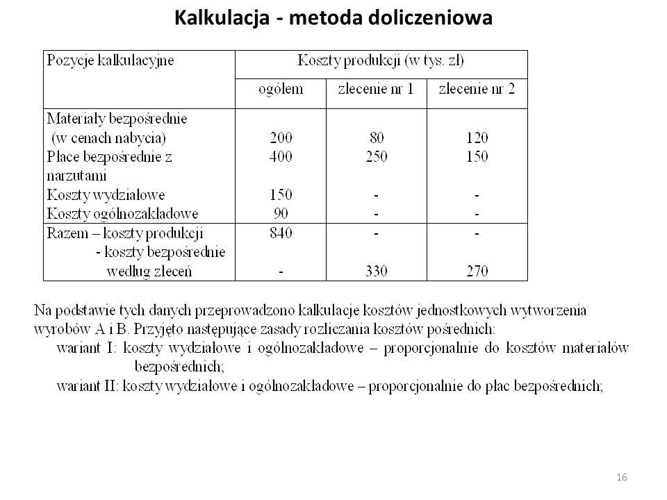 Kalkulacja - metoda doliczeniowa