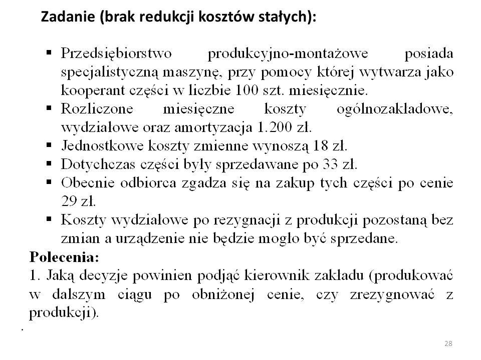 Zadanie (brak redukcji kosztów stałych):