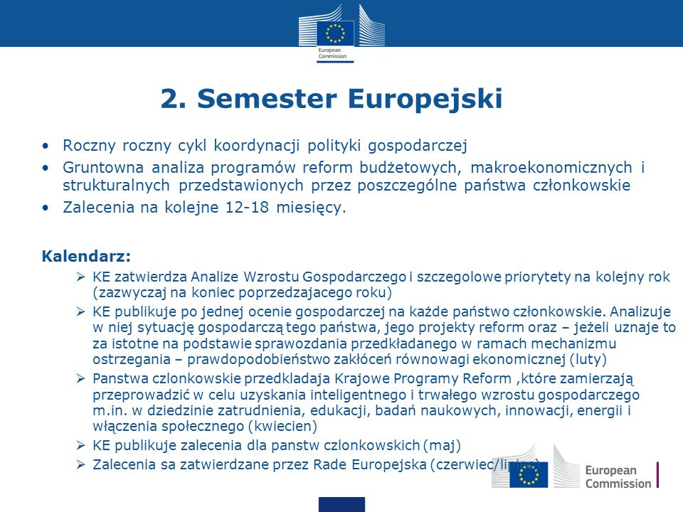 2. Semester Europejski Roczny roczny cykl koordynacji polityki gospodarczej.