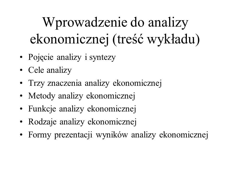 Wprowadzenie do analizy ekonomicznej (treść wykładu)