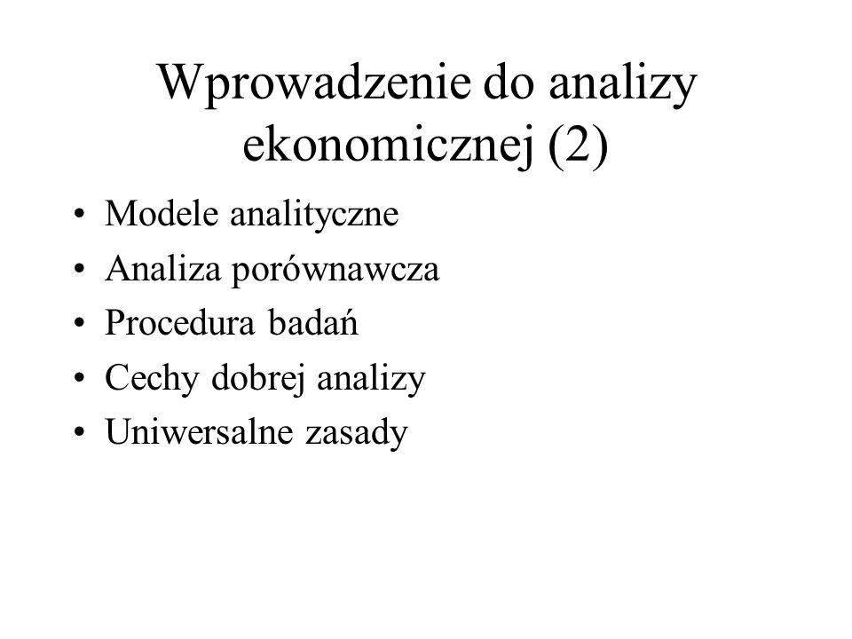 Wprowadzenie do analizy ekonomicznej (2)