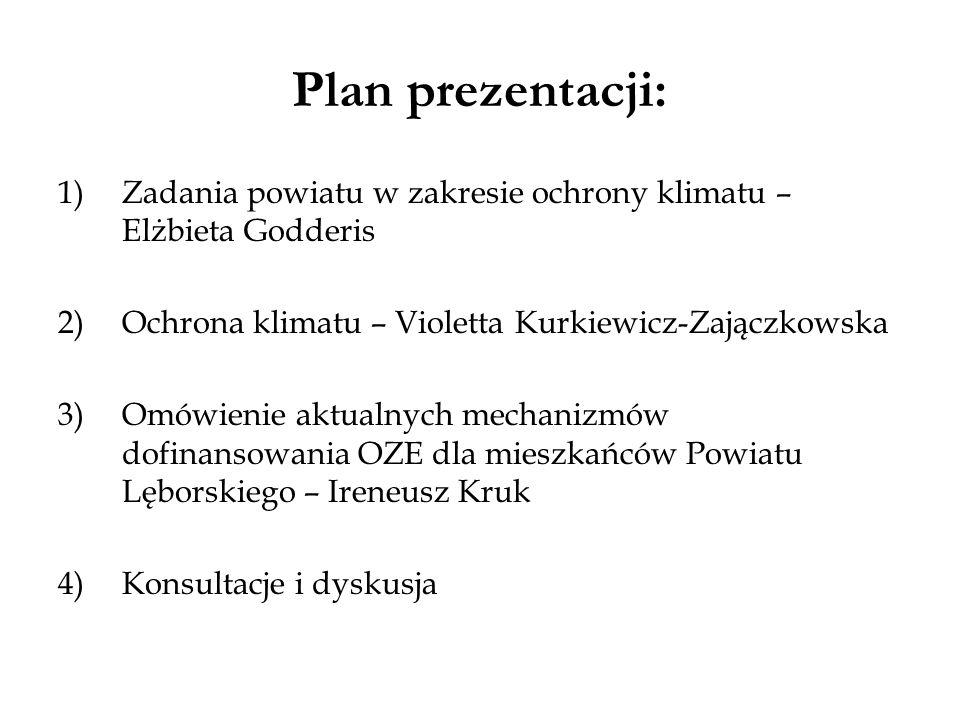 Plan prezentacji: Zadania powiatu w zakresie ochrony klimatu – Elżbieta Godderis. Ochrona klimatu – Violetta Kurkiewicz-Zajączkowska.