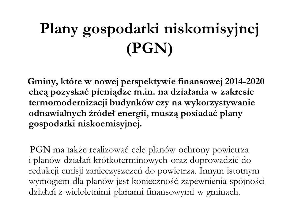 Plany gospodarki niskomisyjnej (PGN)