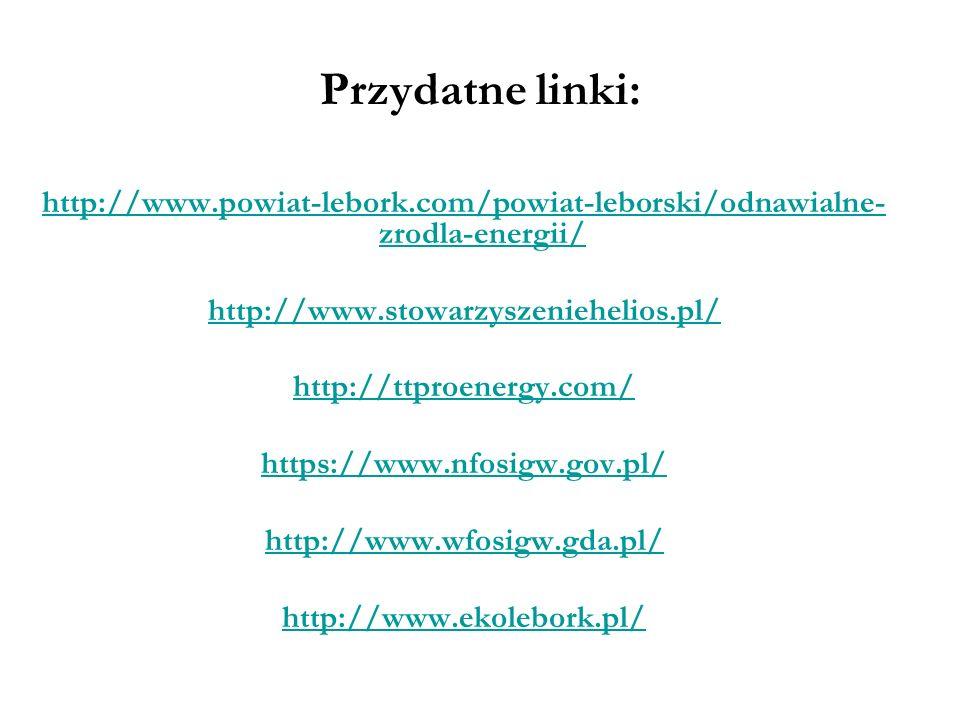 Przydatne linki: http://www.powiat-lebork.com/powiat-leborski/odnawialne-zrodla-energii/ http://www.stowarzyszeniehelios.pl/