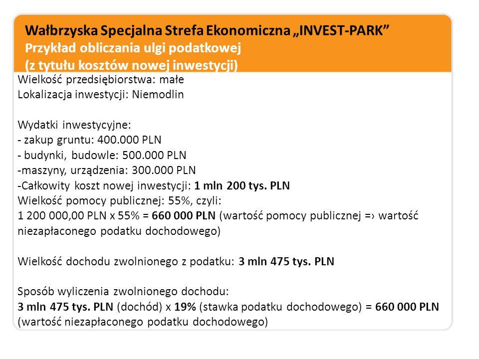 """Wałbrzyska Specjalna Strefa Ekonomiczna """"INVEST-PARK Przykład obliczania ulgi podatkowej (z tytułu kosztów nowej inwestycji)"""