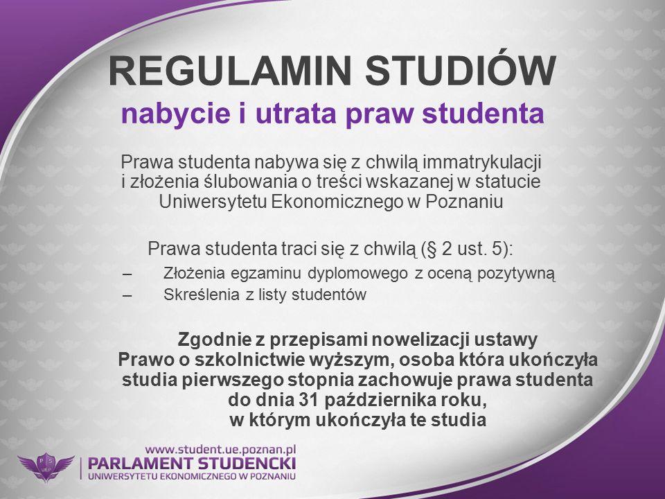 REGULAMIN STUDIÓW nabycie i utrata praw studenta