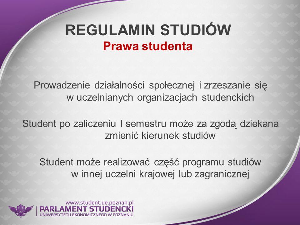 REGULAMIN STUDIÓW Prawa studenta