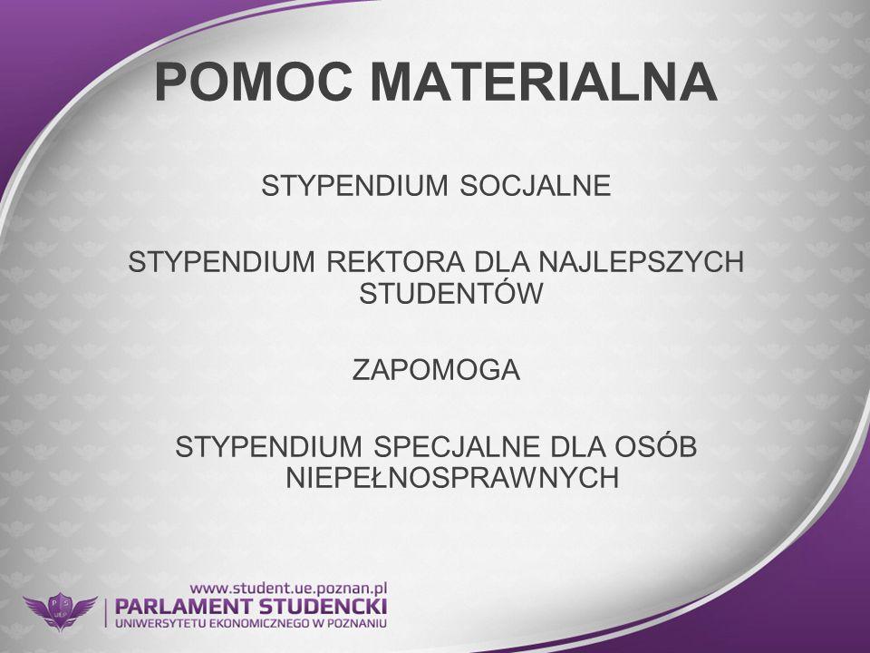 POMOC MATERIALNA STYPENDIUM SOCJALNE