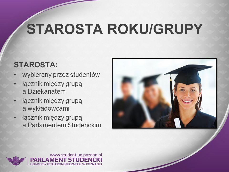 STAROSTA ROKU/GRUPY STAROSTA: wybierany przez studentów