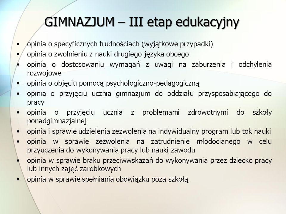 GIMNAZJUM – III etap edukacyjny