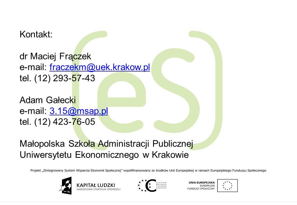 e-mail: fraczekm@uek.krakow.pl tel. (12) 293-57-43 Adam Gałecki